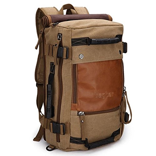 ibagbar-Canvas-Backpack-Travel-Bag-Hiking-Bag-Camping-Bag-Rucksack