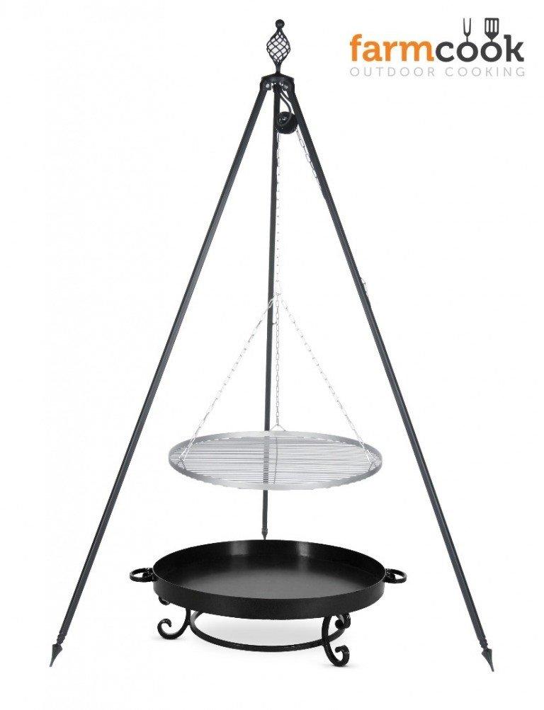 Dreibein Grill OSKAR Höhe 210cm + Grillrost aus Edelstahl Durchmesser 80cm + Feuerschale Pan32 Durchmesser 80cm günstig kaufen
