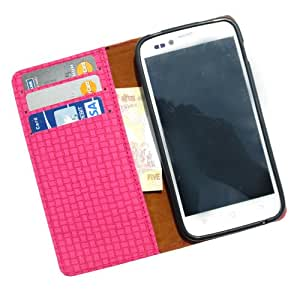 i-KitPit - PU Leather Wallet Flip Case Cover For Lava Xolo A800 (PINK)