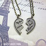 My love I give my heart to you - Heart shaped Couples Necklace