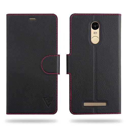 Cool Mango Compact Flip Cover for Xiaomi Redmi Note 3 - 100% Premium Faux Leather Flip Case for Xiaomi Redmi Note 3 with 360 Degree Stitching, Magnetic Lock, Card Currency Slot (Jet Black)