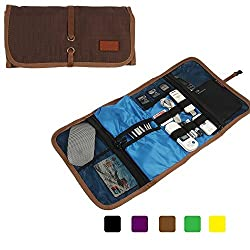 Khanka Universal Portable Organizer Travel Carry Case Cover Bag For Western Digital WD My passport Ultra / Samsung /Seagate/Toshiba Hard Drive USB Cable, Power Bank, Small Electronics and Accessories (Large-Brown)
