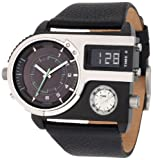 Diesel Watches Men's SBA Ana-Digi Black and Red Dial Watch (Black/Blue)