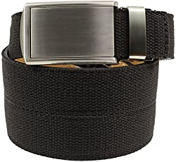 SlideBelts Men's Canvas Belt without Holes - Silver Buckle / Black Canvas (Trim-to-fit: Up to 48
