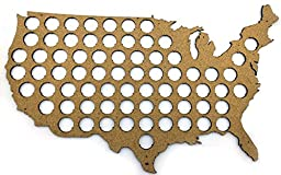 USA Beer Cap Map - 23x14 inches - 70 caps - Beer Cap Holder USA - Cork Tree