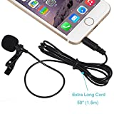 Foneso Lavalier Lapel Microphone, Deluxe Wireless Microphone System Clip-on Omnidirectional Condenser Mic for Apple iPhone, iPad, iPod, Samsung Android and Windows Smartphones