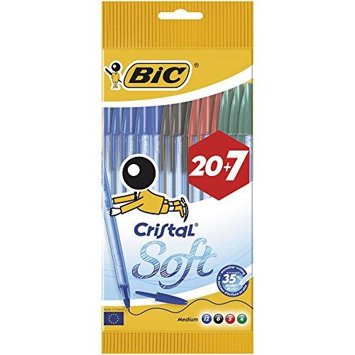 bic-cristal-soft-stylo-bille-non-retractable-couleurs-assortis-pochette-de-20-7-gratuits