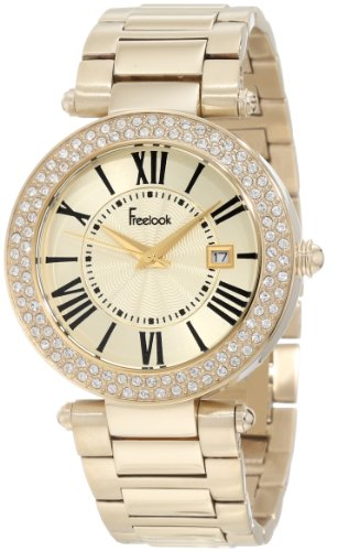 Freelook Women's HA1538GM-3 All Shiny Gold Plated Dial Swarovski Bezel Watch