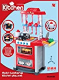 CHILDRENS KIDS KITCHEN COOKING ROLE PLAY PRETEND TOY COOKER GAME INTERACTIVE EARLY LEARNING BBQ CLEANING SUPERMARKET TOOL SET BUILDER TILL TEA TROLLEY LIGHTS & SOUND (Red Kitchen 60225)