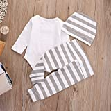 Newborn Baby Girl Boy Clothes Outfit Arrow Romper+ Striped Pants+ Hat 3pcs Set (0-3months, white)
