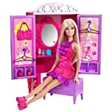 Mattel T7183 Barbie Dress-Up To Make-Up Closet And Barbie Doll Set