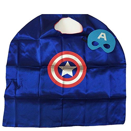 Starkma Kids Girl and Boy Superhero Captian Americain Cape + Mask Costume 05 (Captian America Costume)