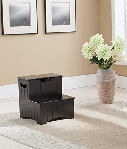 Khome Espresso Finish Wood Bedroom Step Stool / Ladder with Storage and Cut-out Handles