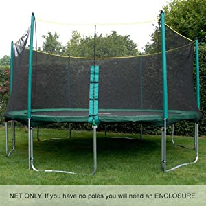 Premium Quality 14ft Trampoline Net (for use with trampolines with 6 enclosure poles). Highly durable. DOES NOT INCLUDE POLES, SLEEVES OR TRAMPOLINE.