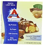 Atkins Advantage Caramel Chocolate Nut Roll, 1.6 oz. bars, 5-Count Box (Pack of 2)