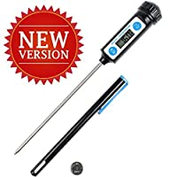 Anpro Latest Stainless Digital Cooking Thermometer with Long Probe for Food, Meat, Grill, BBQ, Milk, Candy and Bath Water - Black from Anpro