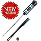 Anpro Latest Stainless Digital Cooking Thermometer with Long Probe for Food, Meat, Grill, BBQ, Milk, Candy and Bath Water - Black