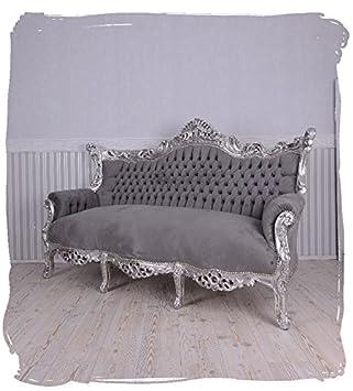 Prunksofa barockes Sofa Salon Couch Silber Grau Antik Sitzbank 200cm