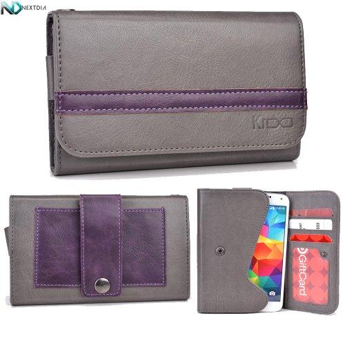 Faea F1 Wallet With Belt Attachment Gunmetal Gray Dark Plum Purple With Credit Card Holder