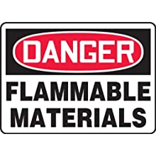 Accuform Signs, Danger Flammable Materials, 7&#034; X 10&#034;, Plastic