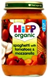 HiPP Organic Stage 2 From 7 Months Spaghetti with Tomatoes and Mozzarella 6 x 190 g (Pack of 2, Total 12 Pots)