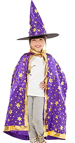 [Boy Girl Kids Children Christmas Halloween Witch Wizard Cloak Gown Robe + Hat (purple)] (Girls Light Up Witch Costume)