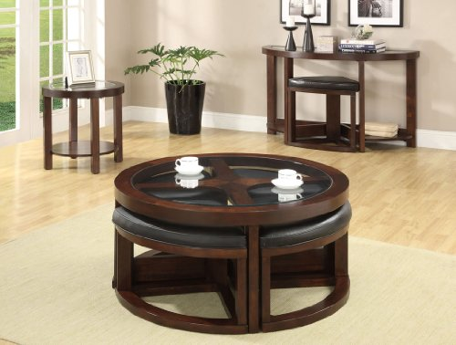 Inland Empire Furniture Utah Dark Walnut Solidwood with Glass Top Coffee Table with 4 Wedge Shape Ottoman