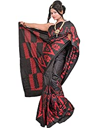 Exotic India Jet-Black Handloom Saree From Pochampally With Single Ikat - Black