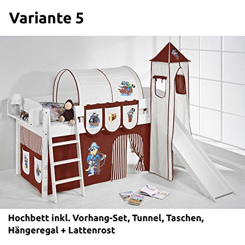 Hochbett Spielbett IDA Pirat Braun Braun, mit Turm, Rutsche und Vorhang, weiß, Variante 5