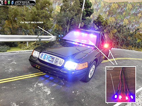 Genuine JPV2015 Product - 4 LED POLICE RC LIGHT KIT for RC Cars, Trucks, Crawlers, Models, Diecast, and more! - Premium Quality - Handmade in USA exclusively by JPV2015 (Rc Die Cast compare prices)
