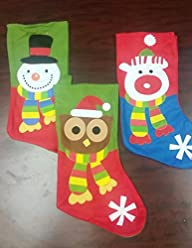 18″ Christmas Stockings 3 Pcs (Felt)…