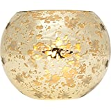 Luna Bazaar Candle Holder (4-Inch, Star Motif, Gold Mercury Glass) - For Home Decor and Wedding Decorations - For Use with Tea Light Candles
