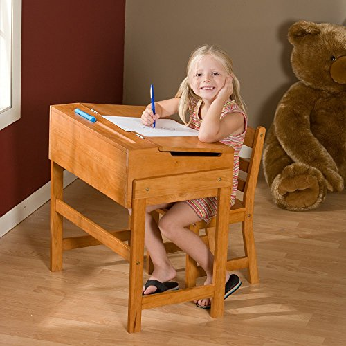Lipper International 564P Child's Slanted Top Desk and Chair, Pecan (Vintage Chair For Desk compare prices)