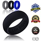 MEN'S SILICONE WEDDING RING- Medical Rubber Wedding Ring Band for Active husband by LCH Signs- Signature Engraved Inside means Love, Commitment, Happiness- Black, Navy Blue & Silver