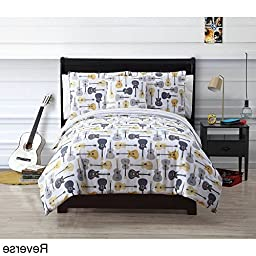 4 Piece Boys Guitar Themed Stripes Bed in a Bag Comforter Full Set, Grey White Light Yellow Rugby Striped Pattern, Reversible Acoustic Guitar Themed Bedding, All Over Electric Guitar Music Pattern
