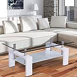 Corium Couchtisch - Wohnzimmertisch (110 x 60 x 45 cm) (Glassplatte) (weiss) Tisch / Glastisch / Beistelltisch / Wohnzimmer / Hochglanz