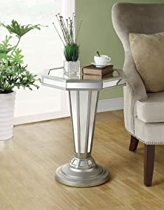 Monarch Specialties Octagon Shape Pedestal Accent Table, 22-Inch, Mirrored