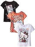 Hello Kitty Toddler Girls Value Pack Tee Shirts, Black/Orange/White, 4T