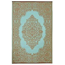 Fab Habitat Istanbul Indoor/Outdoor Rug, Fair Aqua and Warm Taupe