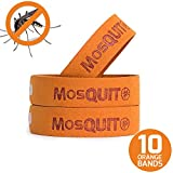 MosQuitO Repellent Bracelets 10 Pack - 100% All Natural Ingredients Insect Repellent - Safe Microfiber Pest Control with Citronella Lemongrass Geraniol and Peppermint - DEET FREE Insect Protection