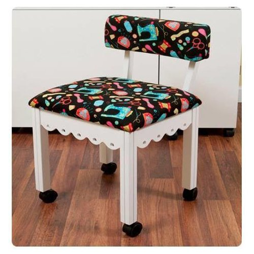 Arrow Sewing Cabinet Craft Room Furniture Wood Fabric Chair White Black  Background