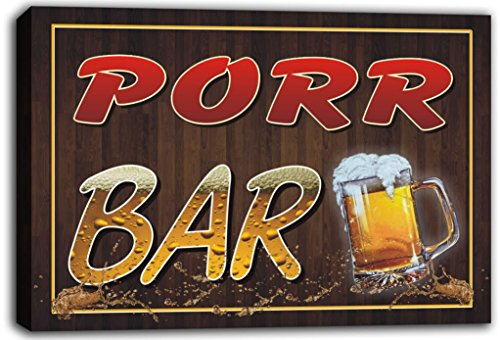 scw3-047091-porr-name-home-bar-pub-beer-mugs-stretched-canvas-print-sign