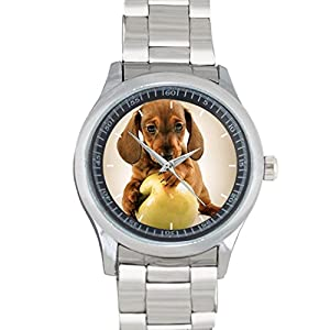Dachshund Puppy Playing With An Apple FILGO103 Stainless Steel Wrist Watches
