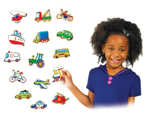 Small World Toys Ryan's Room Wooden Toys  -Stick Em Magnets - Vehicles - 1