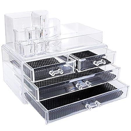 Songmics présentoir Boîte tiroir rangement maquillage 24 x14x19cm ave 4 tiroirs acrylique transparent JKA001
