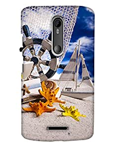PrintHaat Back Case Cover for Motorola Moto X3::Motorola Moto X (3rd Gen) (miniature of a yacht, building and star fishes taking rest :: funny :: in yellow, blue orange and black)