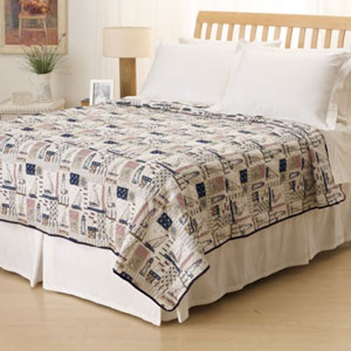 Ashley Cooper Sunday Sailing Print Quilt - Full/Queen Size (Lighthouse Quilt compare prices)
