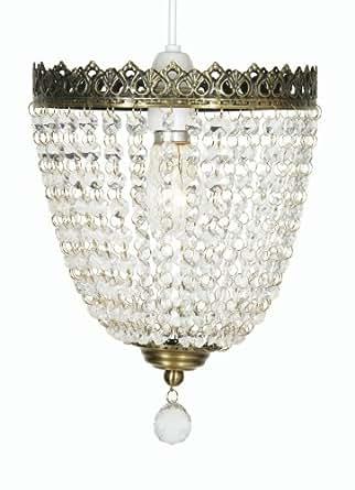 Oaks Lighting Hängelampenschirm Ekon, mit Gestell in Messing-Antik-Optik und Glasperlen, 20 cm