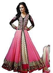 INDIA FASHION SHOP WOMENS BLACK PINK GOLD EMBROIDERED NET SEMI-STITCHED DRESS