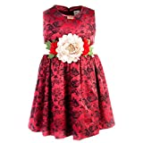 Lilax Girls' Rose Flocked Holiday Dress 5T Red